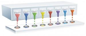 Sistem de de dispensie multi-cartuș: 8 tipuri de capete de dispensare / 96 tipuri de microplăci